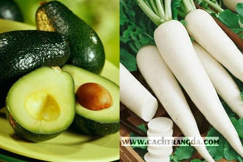 Củ cải đường và trái bơ sẽ giúp làn da bạn trắng sáng hơn trông thấy.