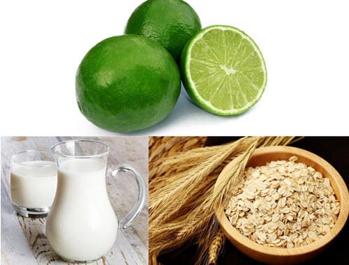 Chanh, sữa tươi, và bột yến mạch giúp điều trị vết thâm và làm sạch da hiệu quả