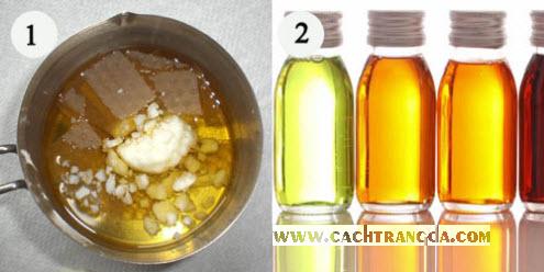 Bước 1 để làm kem dưỡng làm trắng da là nấu chảy dầu cọ cùng với sáp ong dưới lửa nhỏ