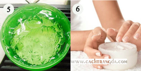 Trộn đều tay rồi bảo quản hỗn hợp kem dưỡng trắng da toàn thân trong hũ thủy tinh.