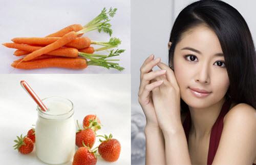 Kem tắm trắng tại nhà từ cà rốt và sữa chua giúp da trắng mịn, hồng hào
