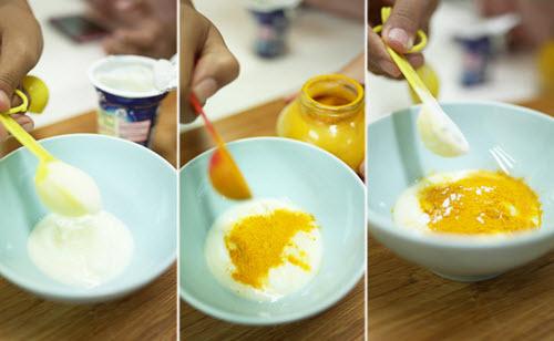 Hỗn hợp trị mụn đầu đen từ bột mỳ, bột nghệ và sữa tươi giúp loại bỏ mụn đầu đen hiệu quả nhất