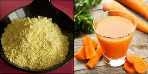 Cách làm trắng da mặt bằng Bột ngô + Cà rốt