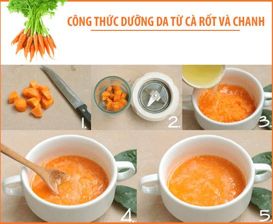 Cách làm trắng da mặt bằng Cà rốt và chanh