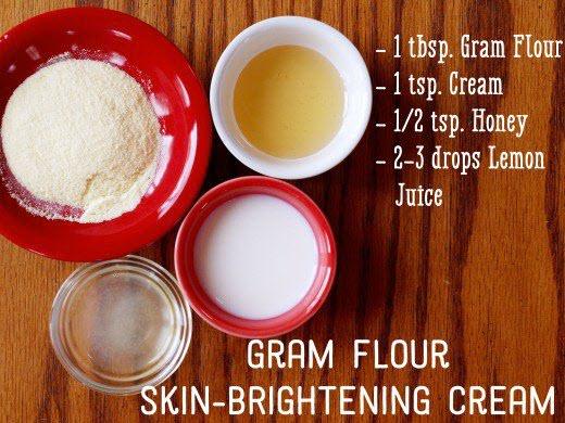 Cách làm trắng da mặt tự nhiên bằng bột Gram + Kem sữa