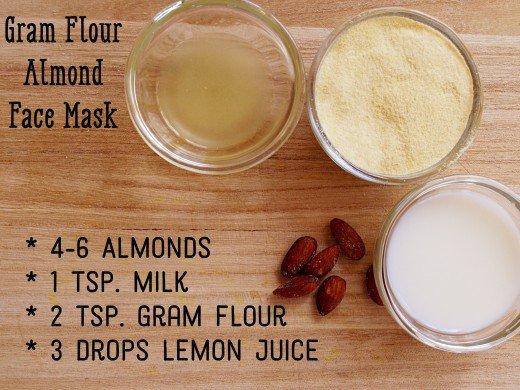 Cách làm trắng da mặt tự nhiên bằng bột Gram + Hạnh nhân