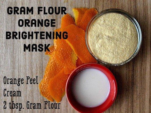 Cách làm trắng da mặt tự nhiên bằng bột Gram + bột Vỏ cam