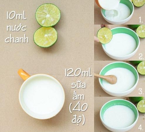 Cách làm trắng da toàn thân bằng sữa tươi và chanh