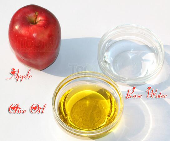 Nguyên liệu để thực hiện cách làm kem dưỡng da tự nhiên bằng quả táo