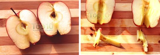 Cắt đôi quả táo và loại bỏ hạt